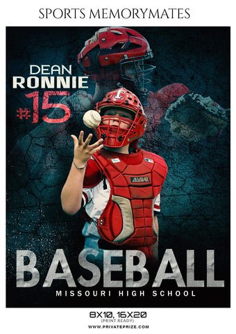Dean Ronnie Baseball Memory Mate  Photoshop Template - Photography Photoshop Template