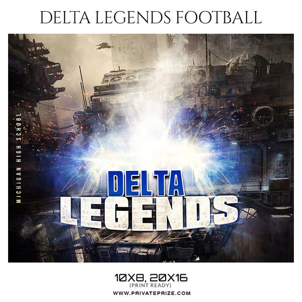 DELTA LEGENDS FOOTBALL Theme Sports Photography Template - Photography Photoshop Template