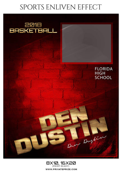 DEN DUSTIN BASKETBALL SPORTS MEMORY MATE - Photography Photoshop Template