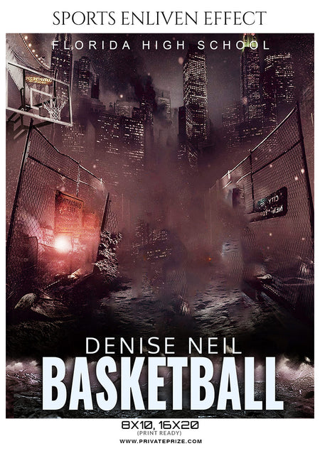 Denise Neil - Basketball Sports Enliven Effects Photography Template - Photography Photoshop Template