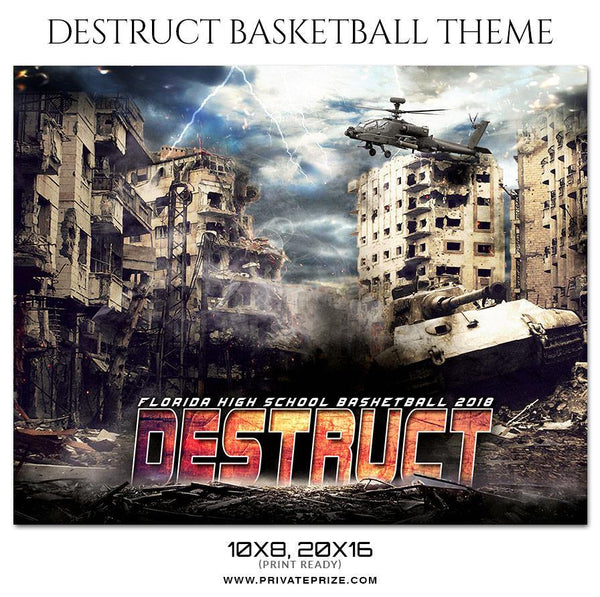 Destruct - Basketball Theme Sports Photography Template - Photography Photoshop Template