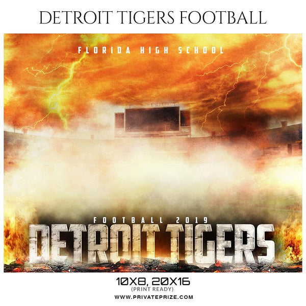 Detroit Tigers - Football Themed Sports Photography Template - Photography Photoshop Template