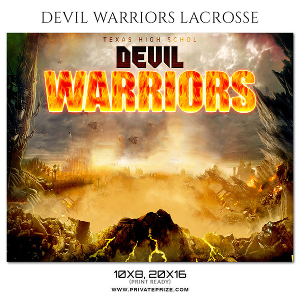 Devil Wariors Lacrosse - Themed Sports Photoshop Template - Photography Photoshop Template