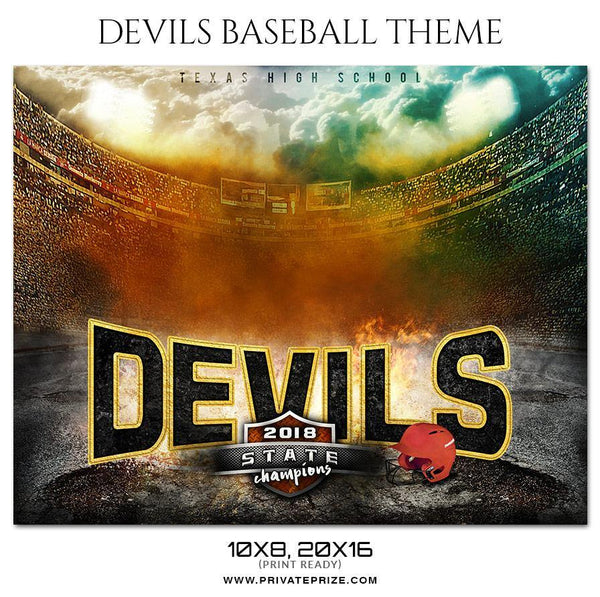 Devils - Baseball Themed Sports Photography Template - Photography Photoshop Template