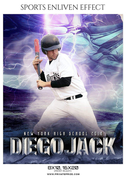 Diego Jack - Baseball Sports Enliven Effects Photography Template - Photography Photoshop Template