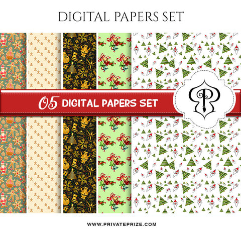 Christmas - Digital Paper Pack - Photography Photoshop Template