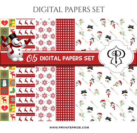 Christmas Digital Paper Pack - Photography Photoshop Template
