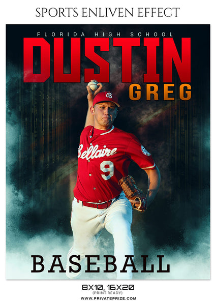 DUSTIN GREG BASEBALL - SPORTS ENLIVEN EFFECT - Photography Photoshop Template
