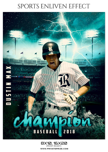Dustin Max Baseball - Sports Enliven Effect Photography Template - Photography Photoshop Template