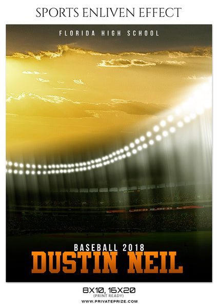 DUSTIN NEIL-BASEBALL- SPORTS ENLIVEN EFFECT - Photography Photoshop Template