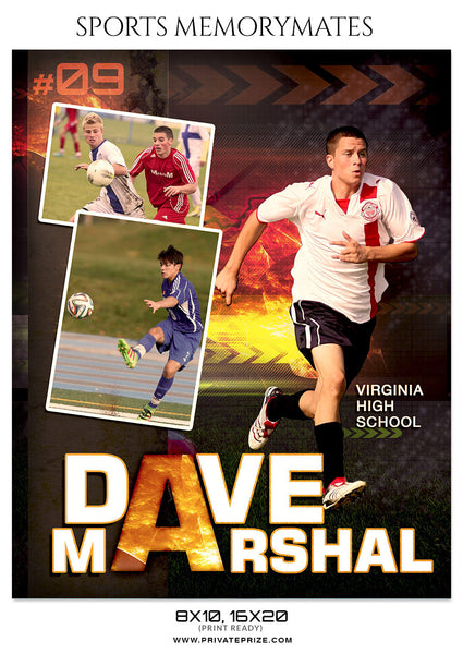 DAV MARSHAL SOCCER- SPORTS MEMORY MATE - Photography Photoshop Template