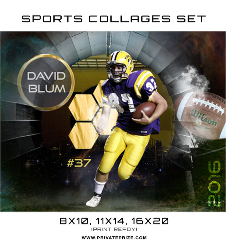 David Blum Football High School Sports Template -  Enliven Effects - Photography Photoshop Template
