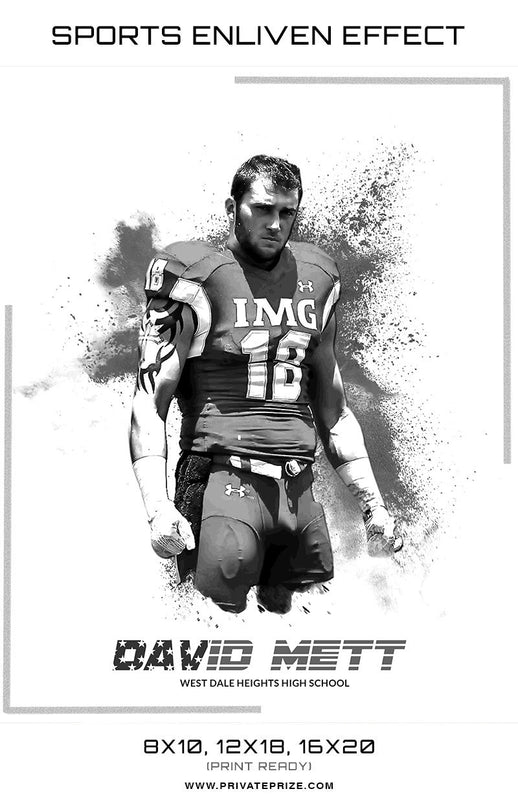 David Football Powder Explosion Sports Template -  Enliven Effects - Photography Photoshop Templates
