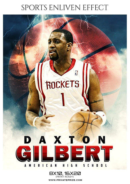 Daxton Gilbert - Basketball Sports Enliven Effect Photography Template - Photography Photoshop Template