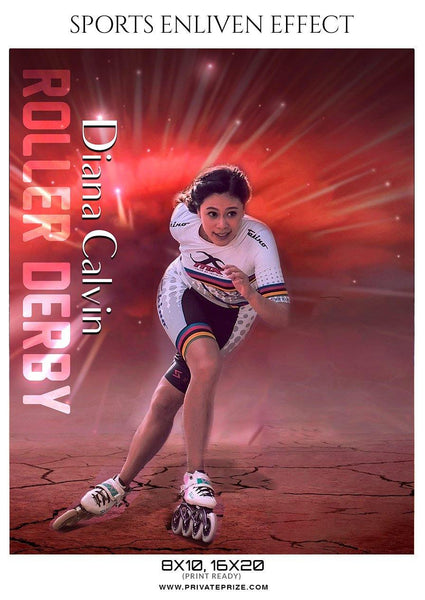 Diana Calvin - Roller Derby Sports Enliven Effect Photography template