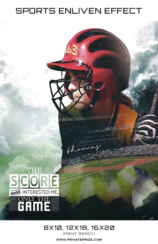 Double Exposer Softball High School Sports - Enliven Effects - Photography Photoshop Templates