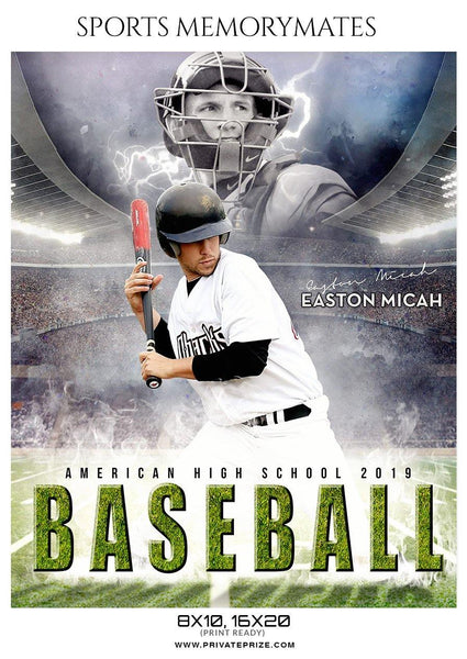 Easton Micah - Baseball Sports Memory Mates Photography Template