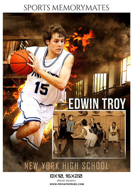 EDWIN TROY BASKETBALL MEMORY MATE - Photography Photoshop Template
