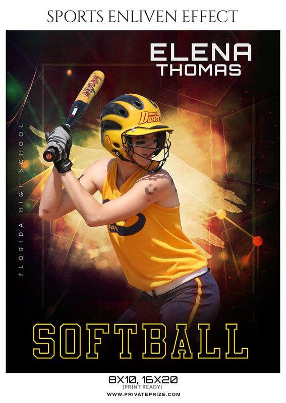 Elena Thomas - Softball Sports Enliven Effects Photoshop Template