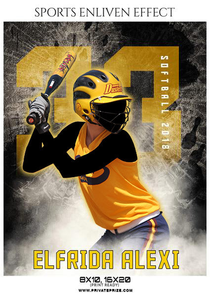 Elfrida Alexi - Softball Sports Enliven Effects Photoshop Template