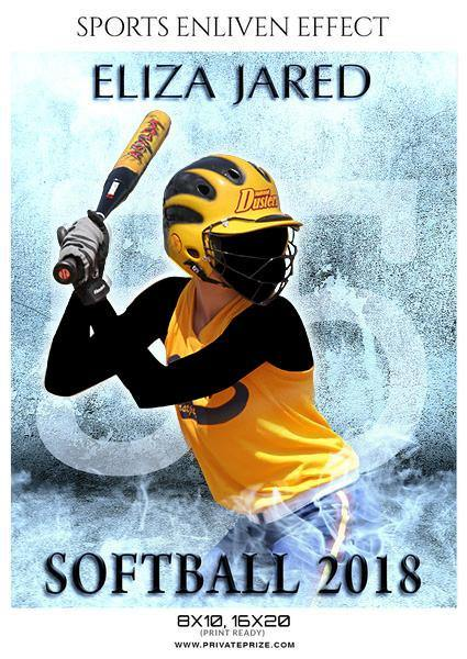 Eliza Jared - Softball Sports Enliven Effects Photography Template