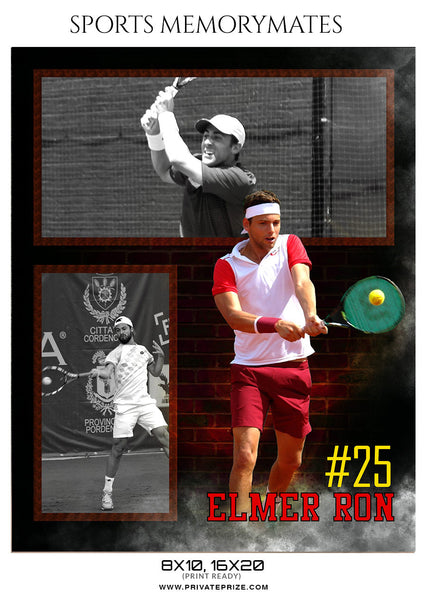 ELMER RON-TENNIS - SPORTS MEMORY MATES - Photography Photoshop Template