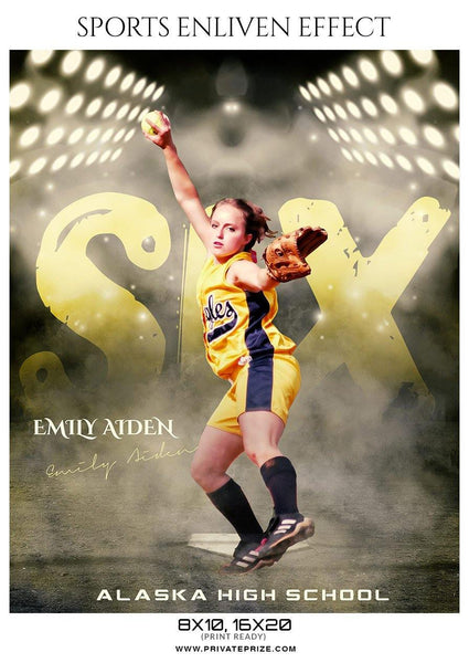 Emily Aiden - Softball Sports Enliven Effect Photography Template - Photography Photoshop Template