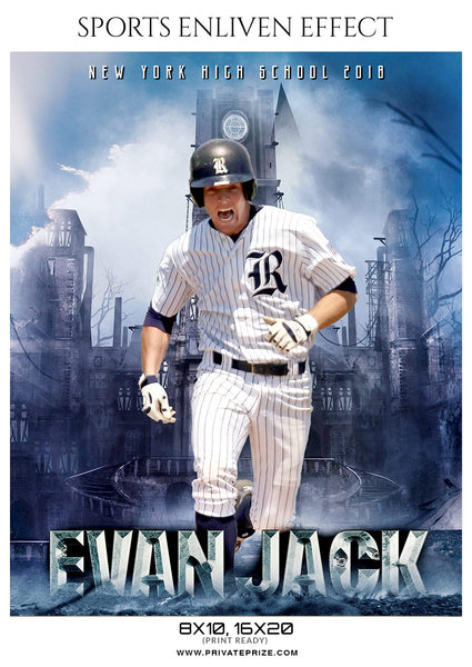 Evan Jack  - Baseball Sports Enliven Effects Photography Template - Photography Photoshop Template