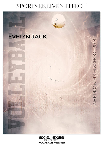 EVELYN JACK-VOLLEYBALL- SPORTS ENLIVEN EFFECT - Photography Photoshop Template
