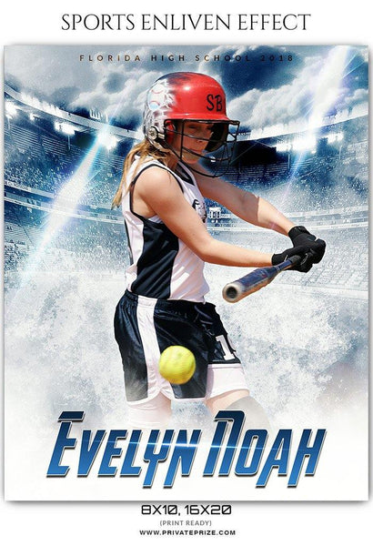 Evelyn Noah - Softball Sports Enliven Effect Photography Template - Photography Photoshop Template