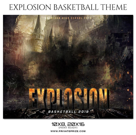 Explosion - Basketball Theme Sports Photography Template - Photography Photoshop Template