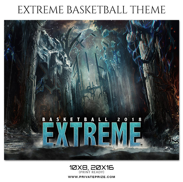 Extreme - Basketball Theme Sports Photography Template - Photography Photoshop Template