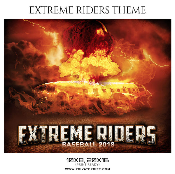 Extreme Riders - Baseball Themed Sports Photography Template - Photography Photoshop Template