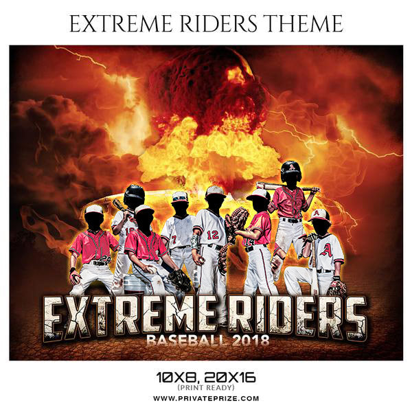 Extreme Riders - Baseball Themed Sports Photography Template