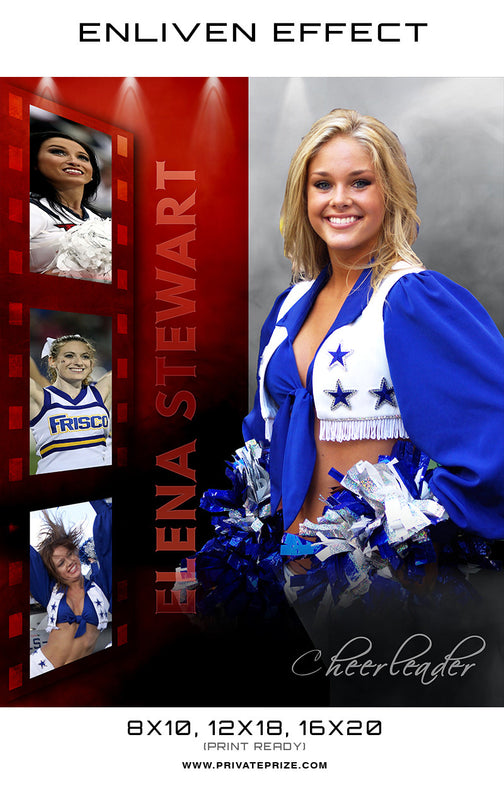 Elena Cheerleader - Enliven Effects Photoshop Template - Photography Photoshop Templates