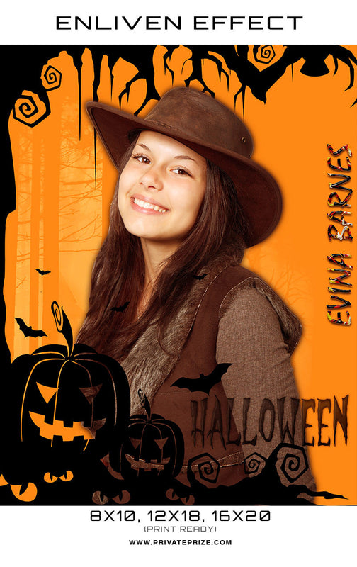 Evina Barnes - Halloween Template -  Enliven Effects - Photography Photoshop Template