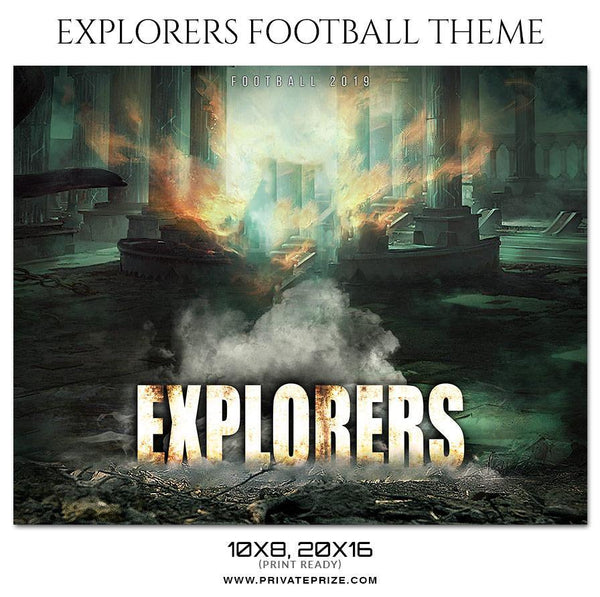 Explorers - Football Themed Sports Photography Template - Photography Photoshop Template