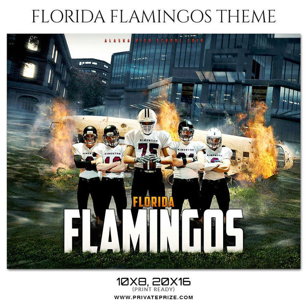 Florida Flamingos - Themed Sports Photography Template - Photography Photoshop Template