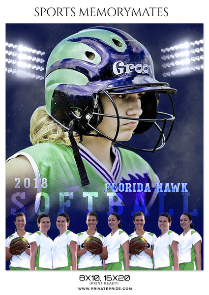 FLORIDA HAWK - SOFTBALL SPORTS PHOTOGRAPHY - Photography Photoshop Template