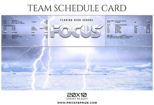 Focus - Team Sports Schedule Card Photoshop Templates - Photography Photoshop Template