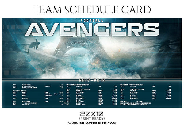 Football Avengers - Team Sports Schedule Card Photoshop Templates - Photography Photoshop Template