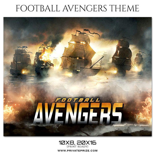 Avengers - Football Themed Sports Photography Template - Photography Photoshop Template