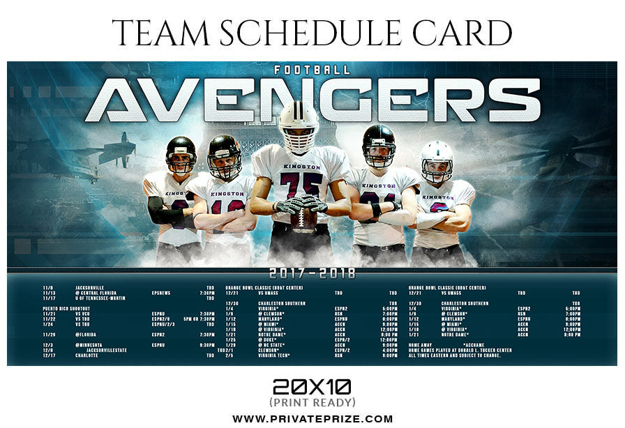 football avengers team sports schedule card photoshop templates