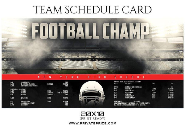 Football Champ - Team Sports Schedule Card Photoshop Templates