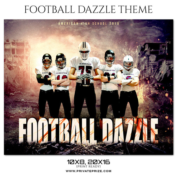 Football Dazzle - Themed Sports Photography Template - Photography Photoshop Template