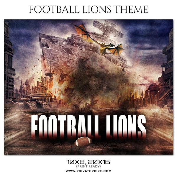 Football Lions Themed Sports Photography Template - Photography Photoshop Template