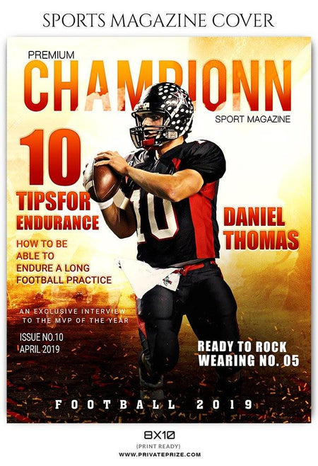 Football Sports Photography Magazine Cover templates