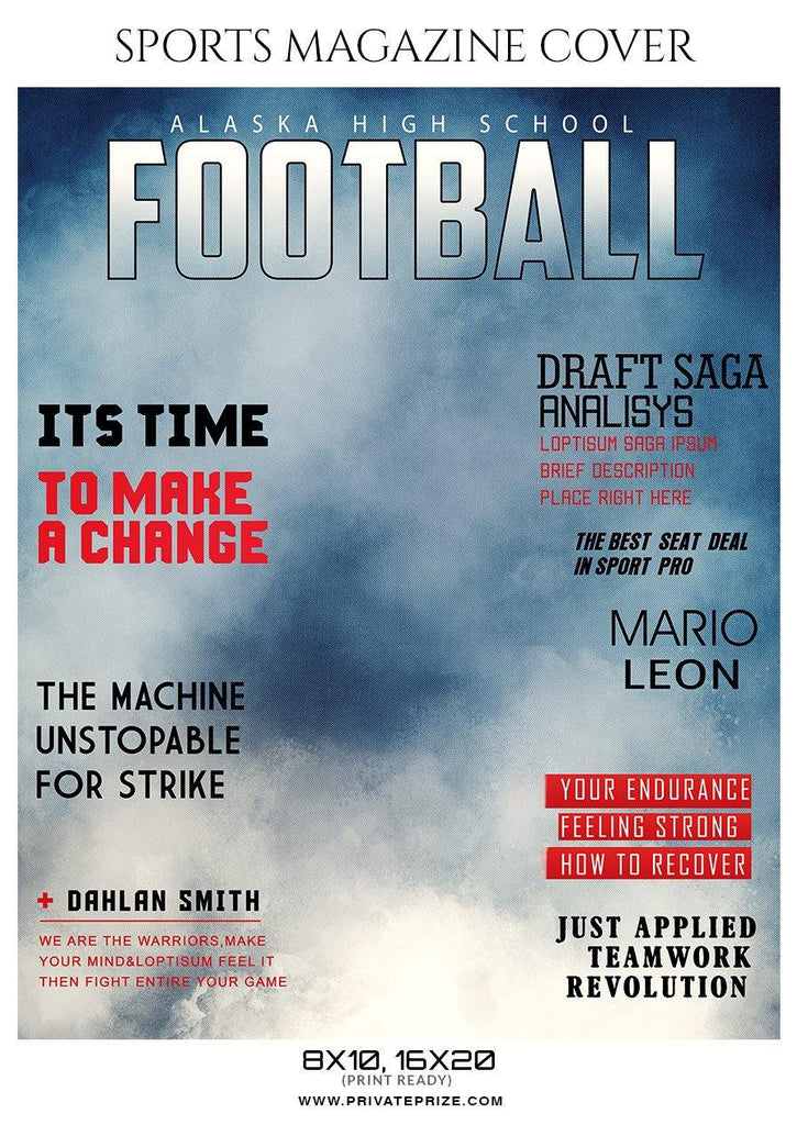 Football Sports Magazine Cover Photography Templates