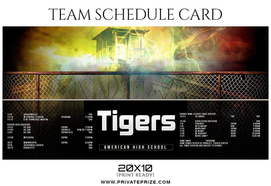 football team sports schedule card photoshop templates