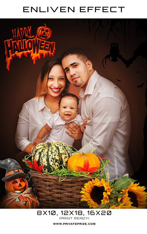 Family Backdrop Halloween Template -  Enliven Effects - Photography Photoshop Template